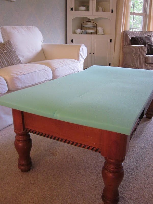 Diy tutorial coffee table into upholstered ottoman for Cocktail tables diy
