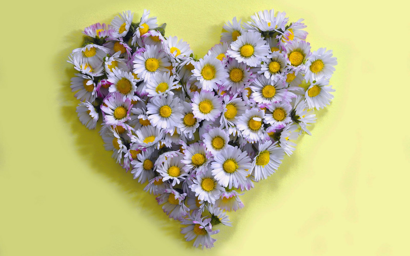 Gele achtergrond met liefdes hartje van bloemen