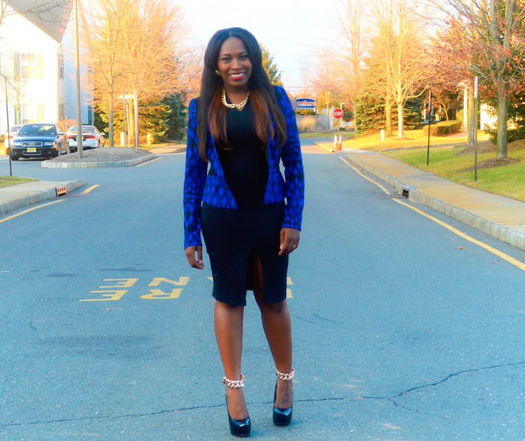 fabulous perks blue and black blazer little black