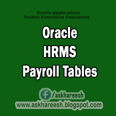 Oracle HRMS Payroll Tables,AskHareesh Blog for OracleApps