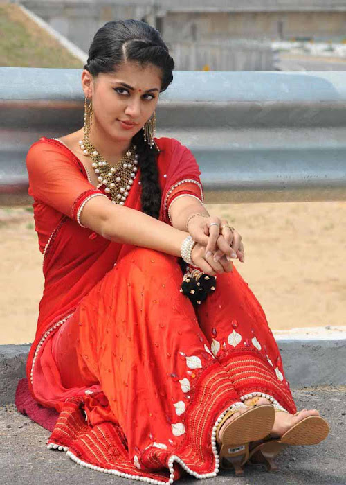 tapsee unseen in red sareepink dress unseen pics