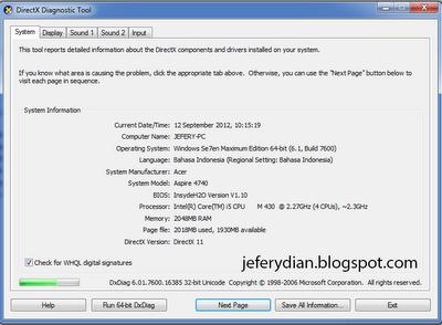 Pada gambar diatas  terlihat gambaran umum dari PC  Mulai dari OS yang