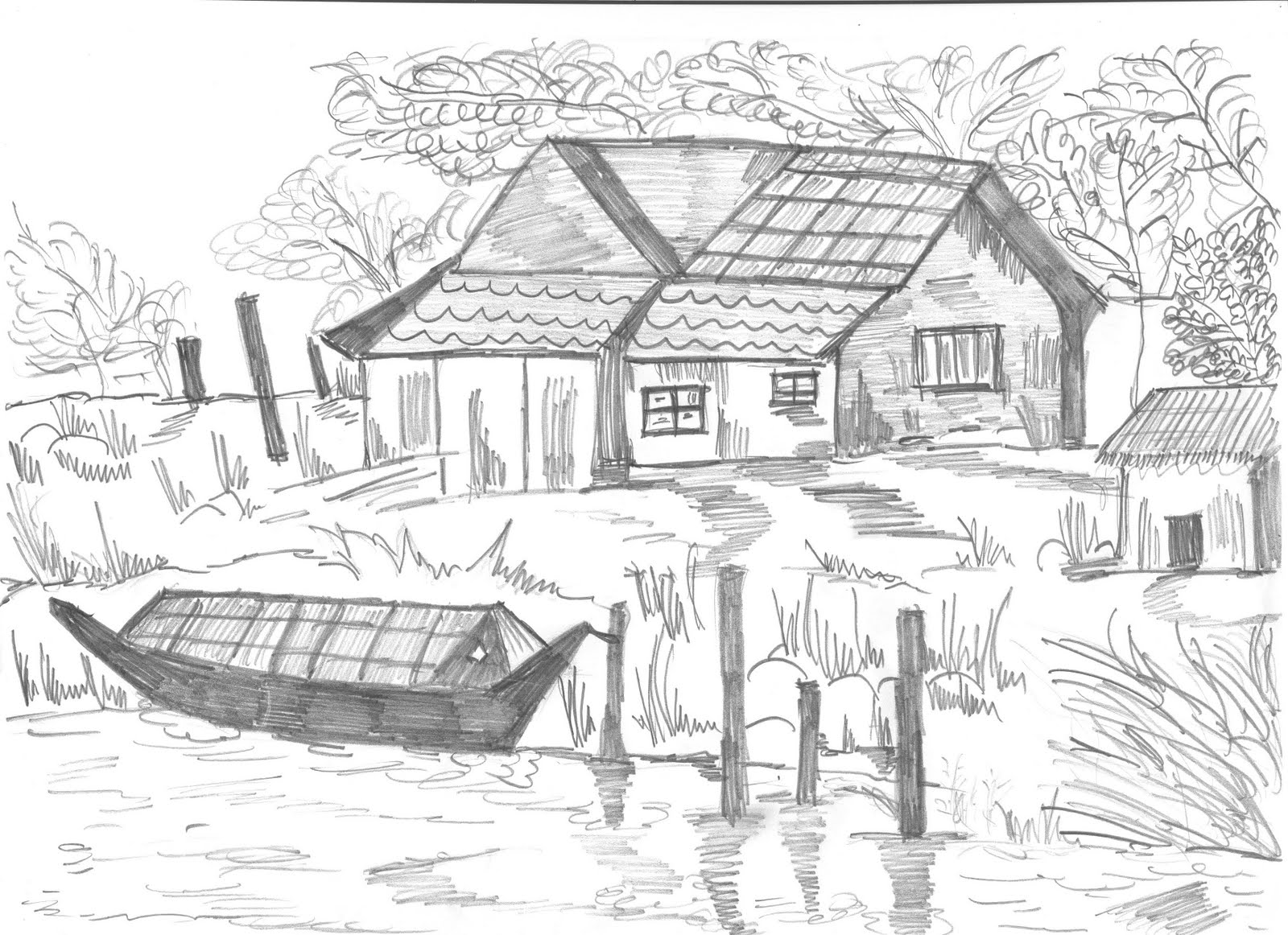 Old Village House Drawing Black White Pencil Drawing