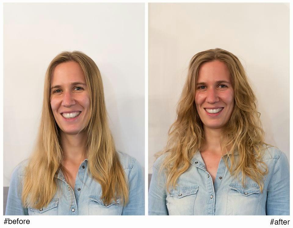 Aurélia, avant et après la réalisation du service Beach Waves de L'Oréal,  réalisé par Eddy, coiffeur visagiste à Montpellier.