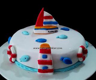 sahil temalı butik pasta