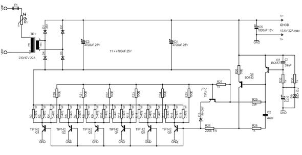 13.6V 22 Amper TIP142 Transistu00f6rlu00fc Gu00fcu00e7 Kaynau011fu0131.