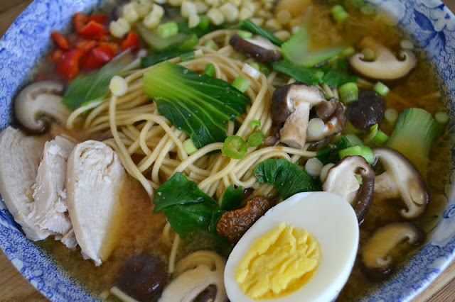 Healthy, low fat, protein rich, Miso Ramen with Shitake and Chicken is the ultimate 30-minute meal!