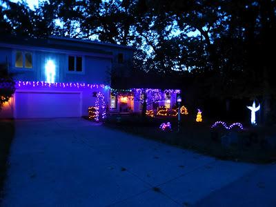 yard, tombstones, pumpkins, lights, led, holiday, night