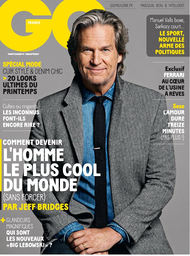 Jeff Bridges en portada de GQ Magazine Francia marzo 2014