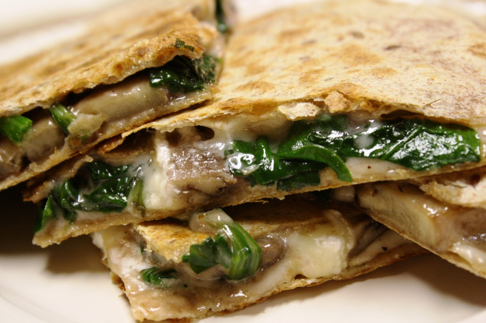 Spinach and mushroom Quesadillas with Fontina and goat cheese