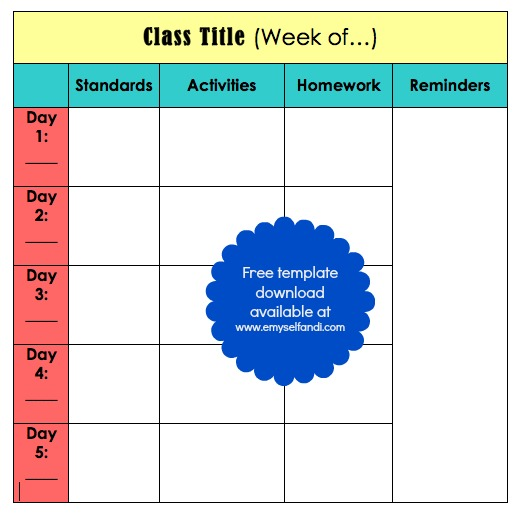 5 day lesson plan template 28 images 5 day lesson plan template