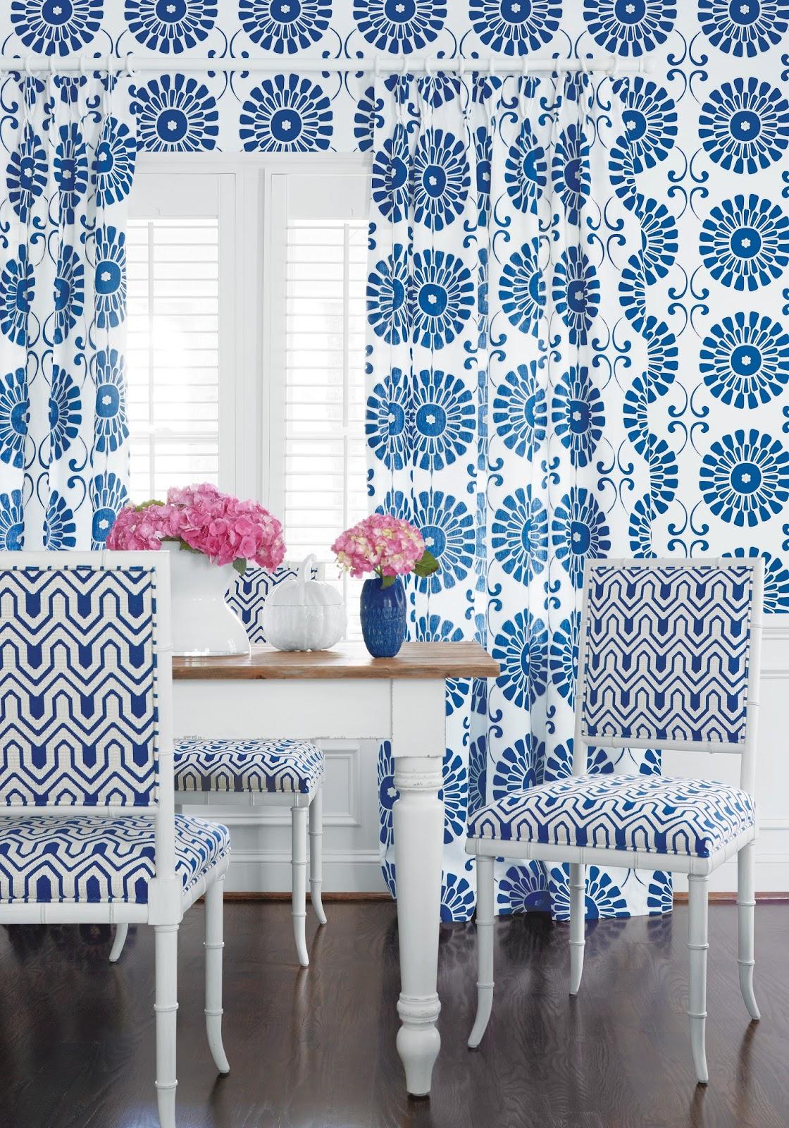 Wallpaper Curtain Fabric Sun Garden In Blue Chair Montserrat