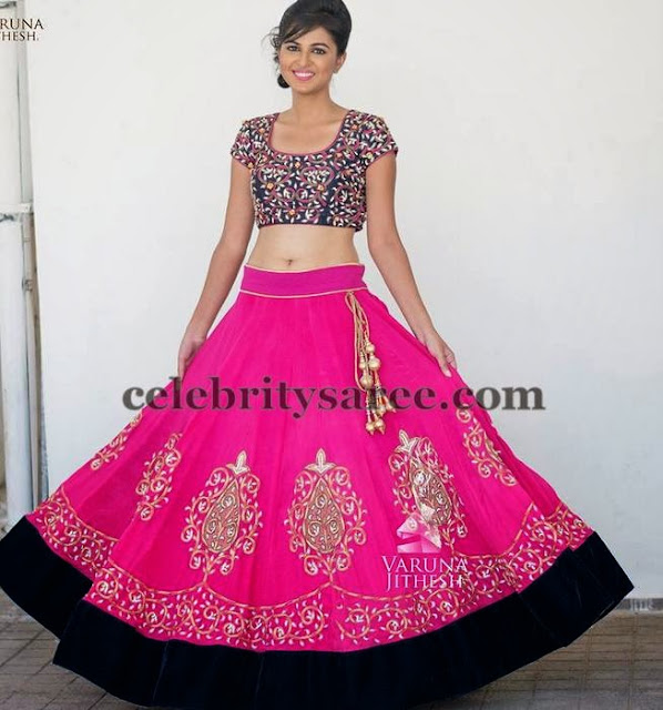 Pink and Black Velvet Lehenga