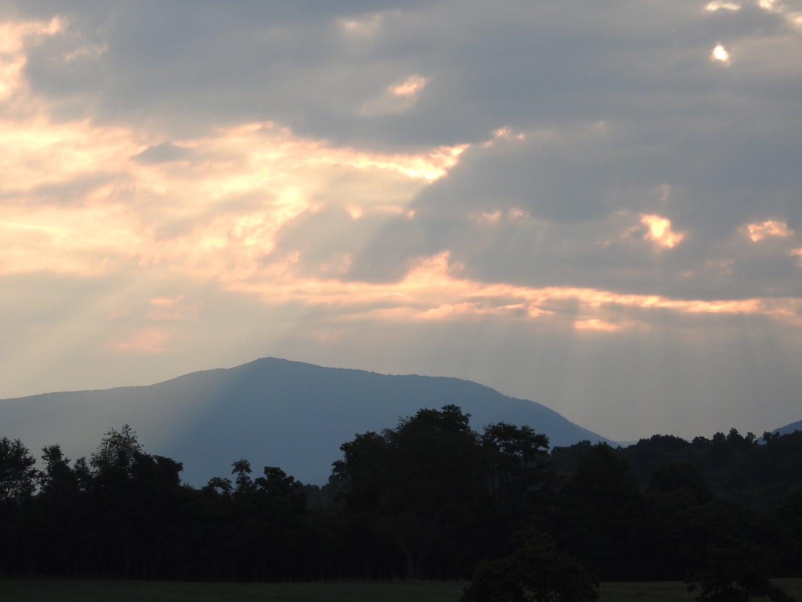 early morning summer sunrise at Mountain Glen Farm