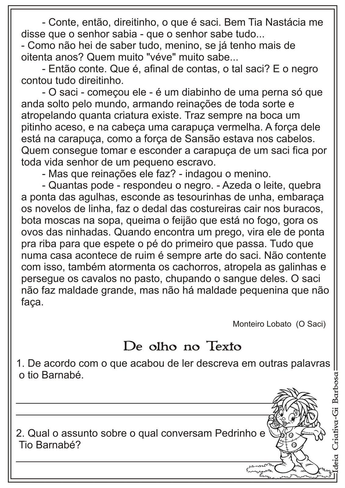 INTERPRETAÇÃO DE TEXTOS DE MONTEIRO LOBATO + ATIVIDADES EXERCÍCIOS