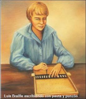 Luis Braille escribiendo con pauta y punzón