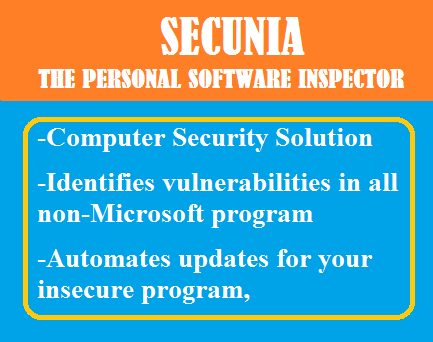 Secunia the Personal Software Inspector (PSI) free computer security solution