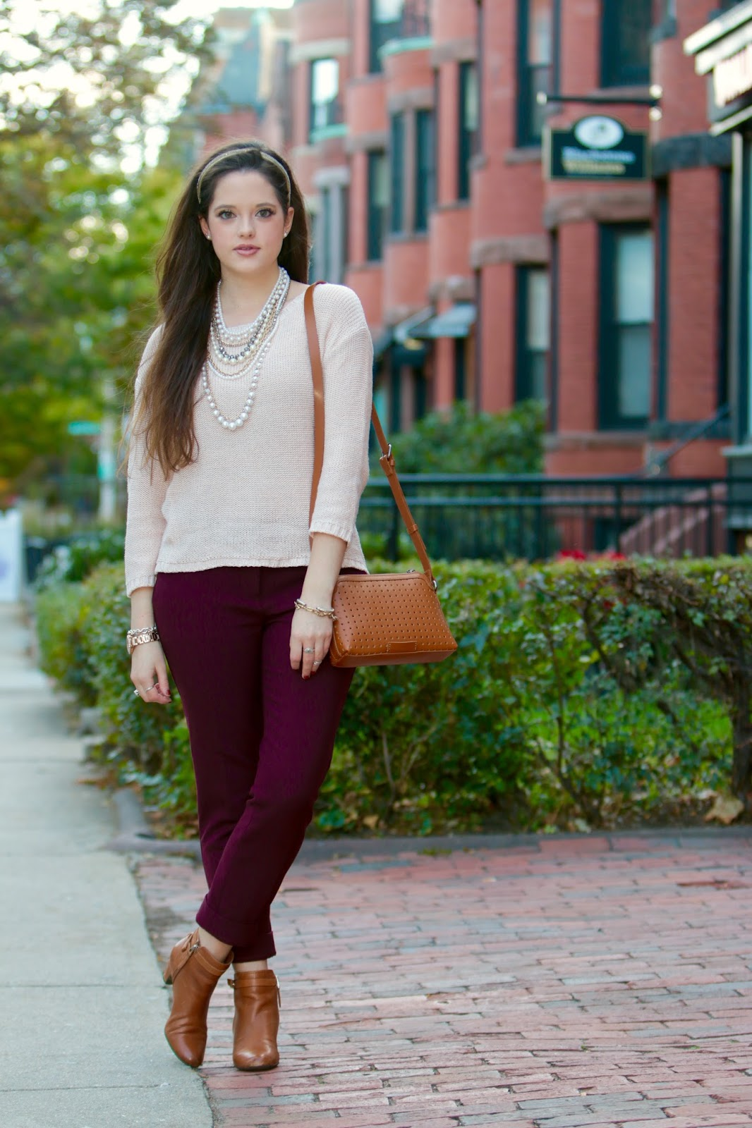 Burgundy Ankle Pants