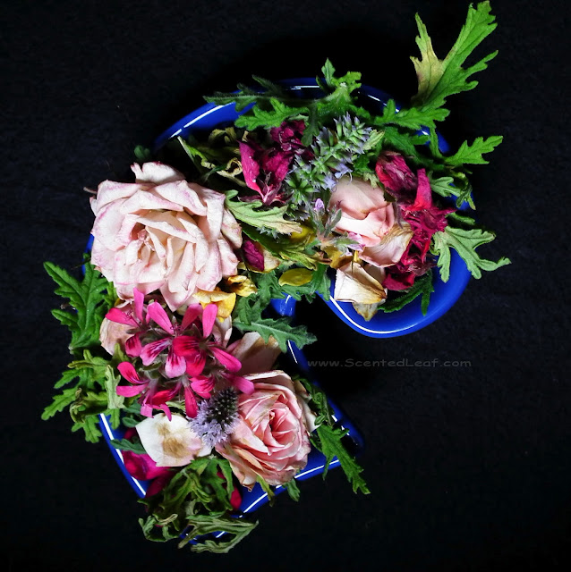 Potpourri with rosebuds and scented pelargonium leaves and flowers