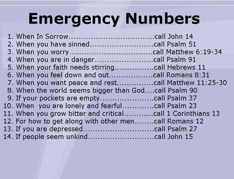 god is love thankful thursday emergency numbers