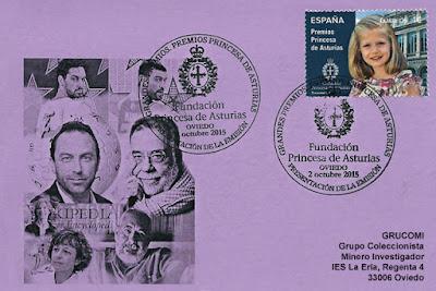 Tarjeta con el matasellos Primer Día de Circulación del sello de los Premios Princesa de Asturias