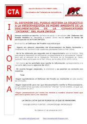 EL DEFENSOR DEL PUEBLO REITERA LA SOLICITUD A LA VICECONSEJERÍA DE MEDIO AMBIENTE DE LA DOCUMENTACI