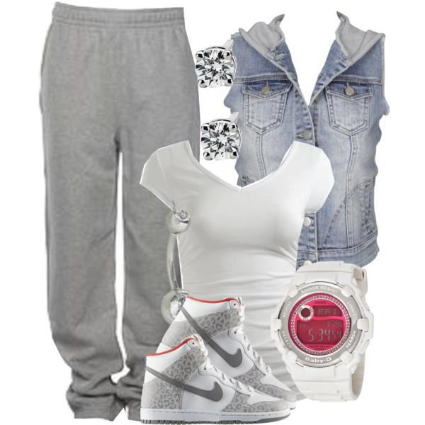 Sports trouser, blouse, nike shoes, wrist watch and jacket for ladies