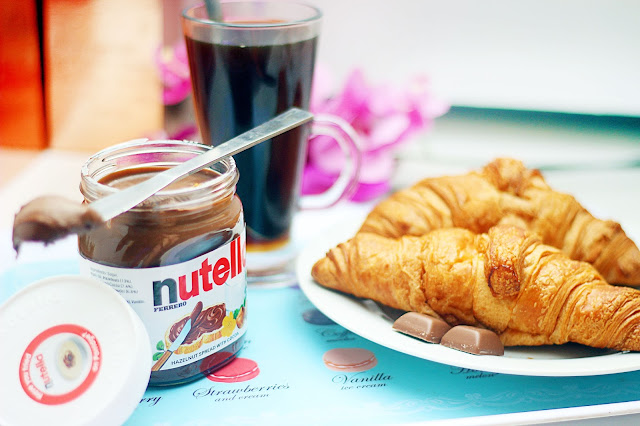 nutella, croiissant, coffee, autumn fall