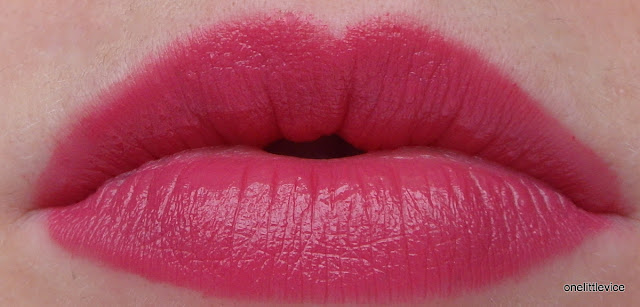 lip swatch lipstick bright pink raspberry review intense colour