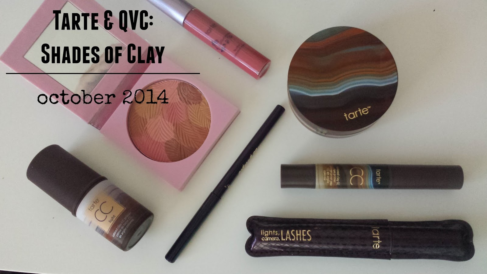 UNBOXING, Tarte Shades of Clay October 2014, cc primer, cc eye primer, bronzer blush in rose bronze, colored clay eyeliner in midnight plum, colored clay foundation, lipsurgence lip gloss in blushing bride, lights, camera, lashes 4 in 1 mascara review