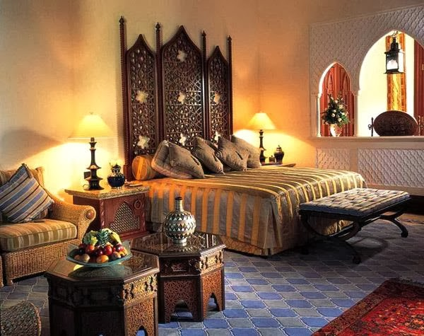 Interior decorating bedroom in arabic style for Arabic interiors decoration