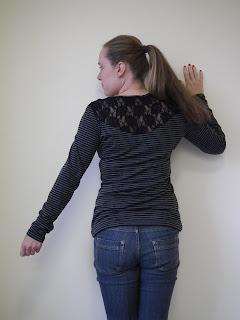 stripy, lace, back, tee, burda, 123a