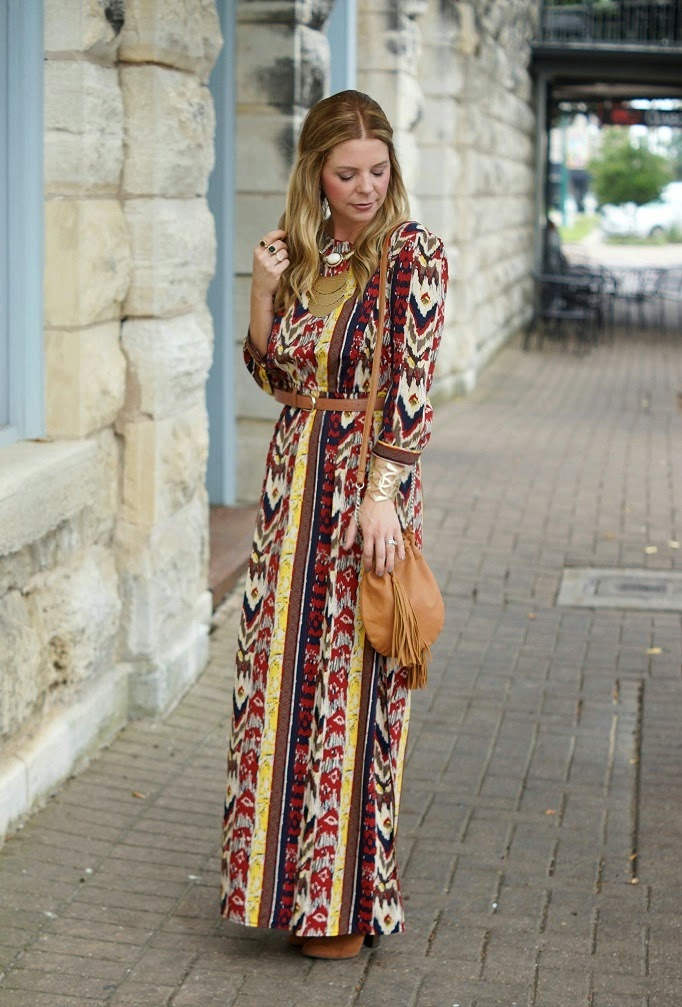 maxi dress style outfit idea for fall