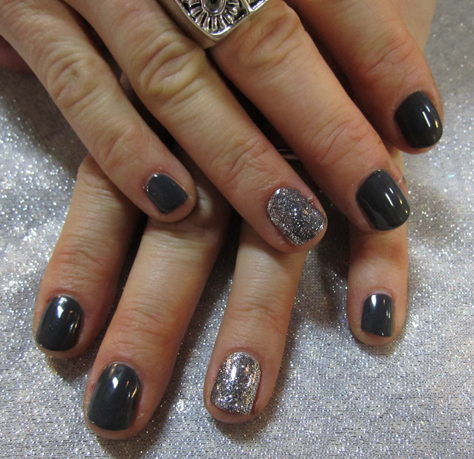 silver glitter right onto the shellac and with a shellac top coat you