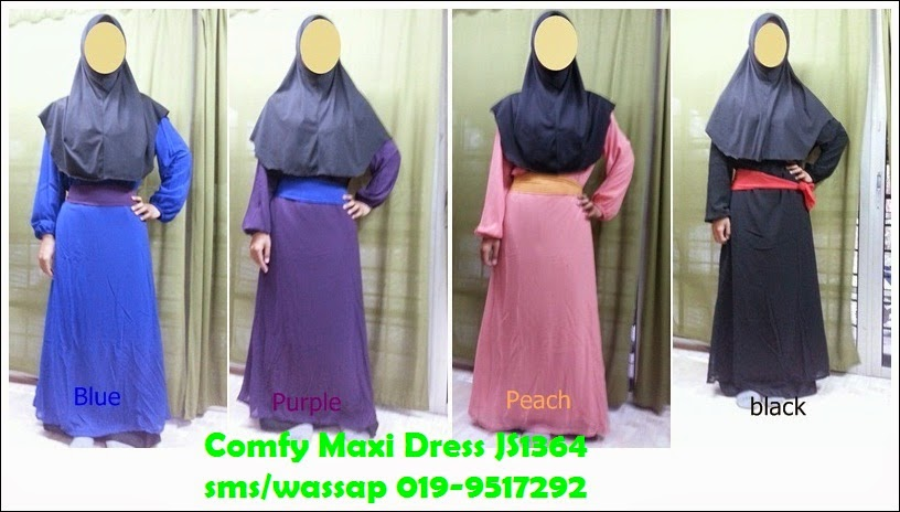 Colourful Comfy Maxi Dress JS1364 - Biru, Purple, Peach, Hitam
