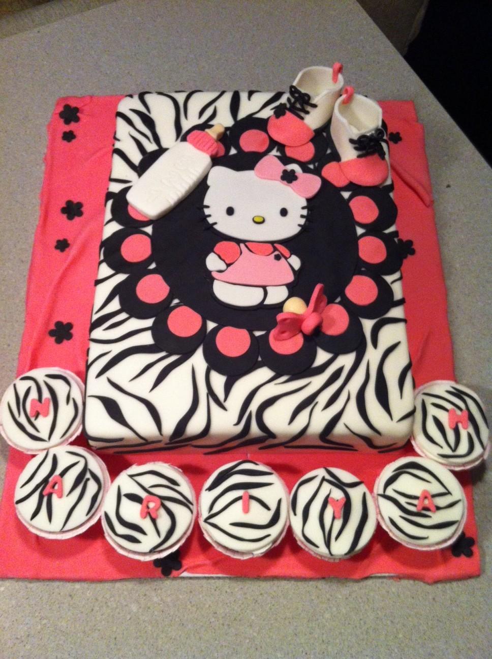 Hello Kitty Baby Shower Cake Part - 35: Hello Kitty In Zebra Print