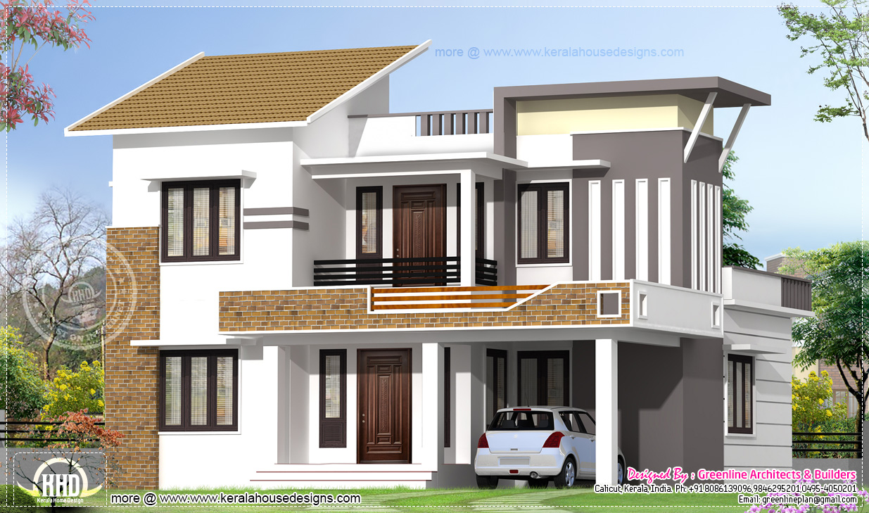 2035 square feet modern 4 bedroom house exterior house for Building design outside