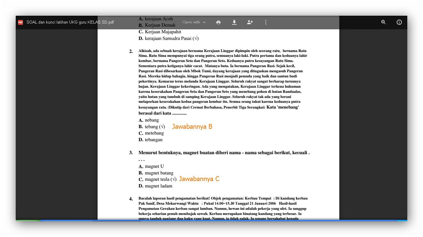 Unduh File 100 Soal Ukg Sd Plus Kunci Jawaban Unduh File Guru