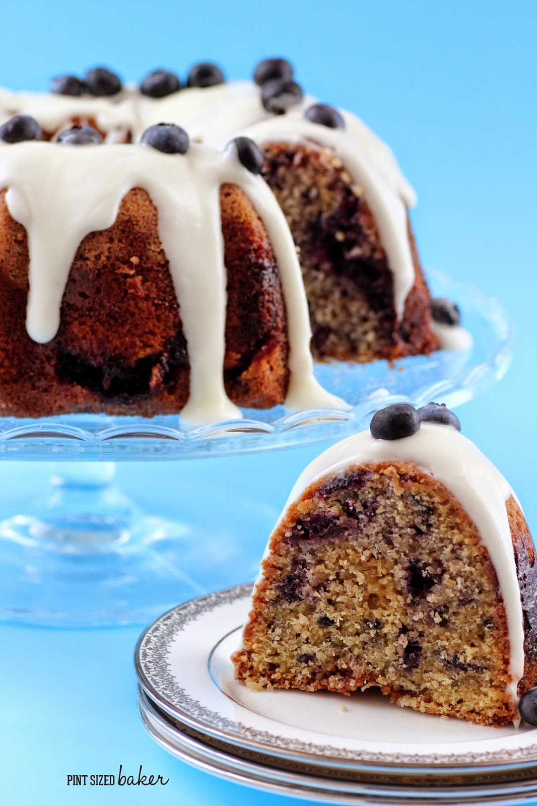 Every slice of this bundt cake is different with all the blueberry marbling inside!