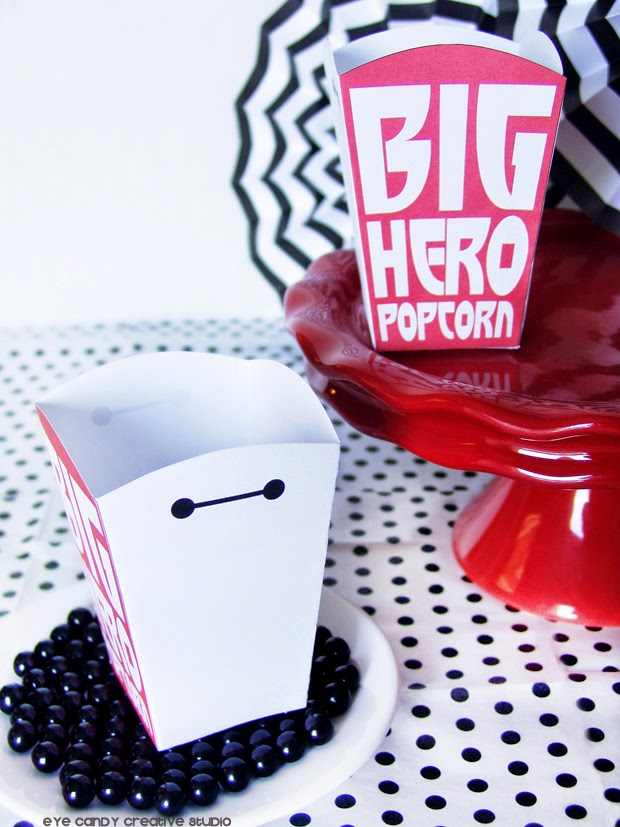 Baymax popcorn, free download, movie night, Disney movie, black and white decor