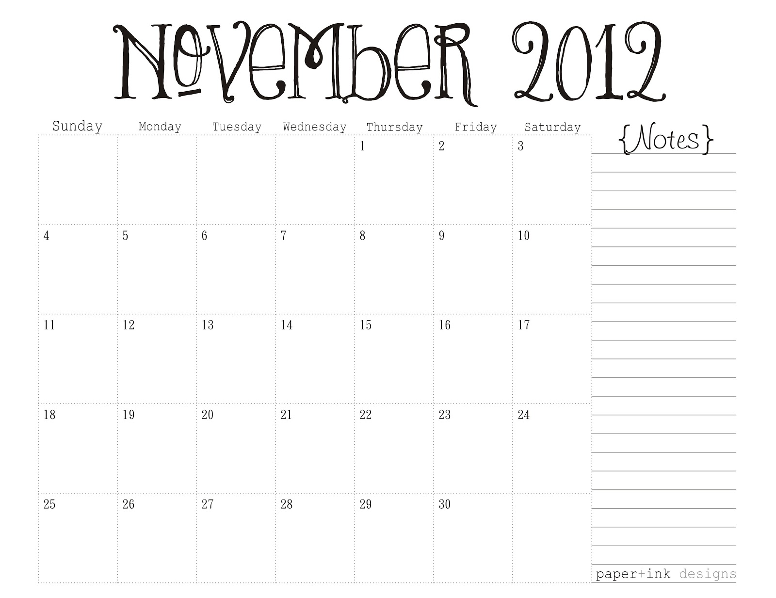 November 2012: Free Printable Calendars