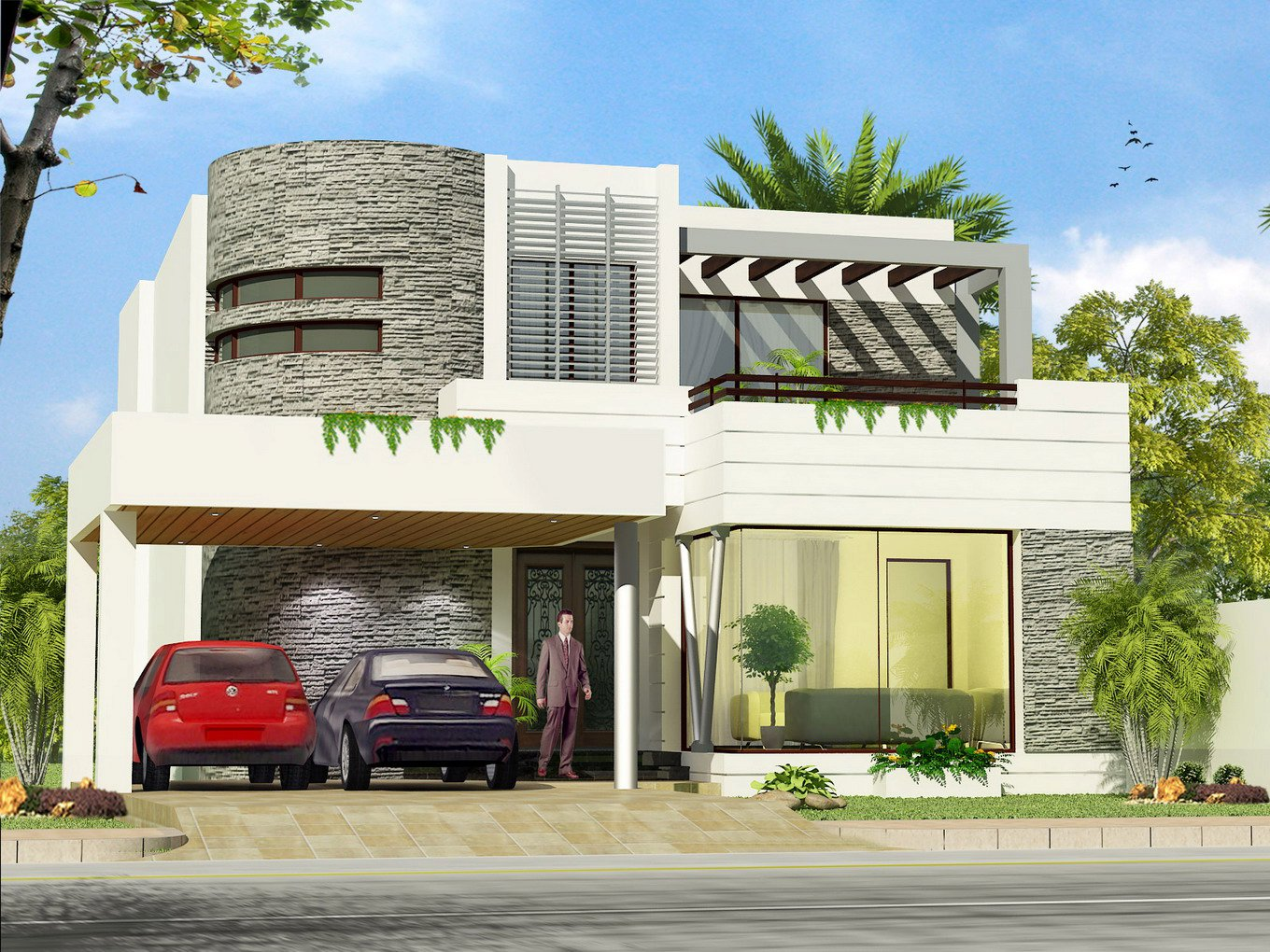 3D Front Elevation   Pakistan Front Elevation of House Exterior