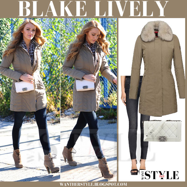 Blake Lively in beige fur collar peuterey metropolitan parka and skinny jeans j brand 620 what she wore streetstyle