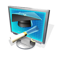 Image of a graduation cap and diploma embedded in a computer screen