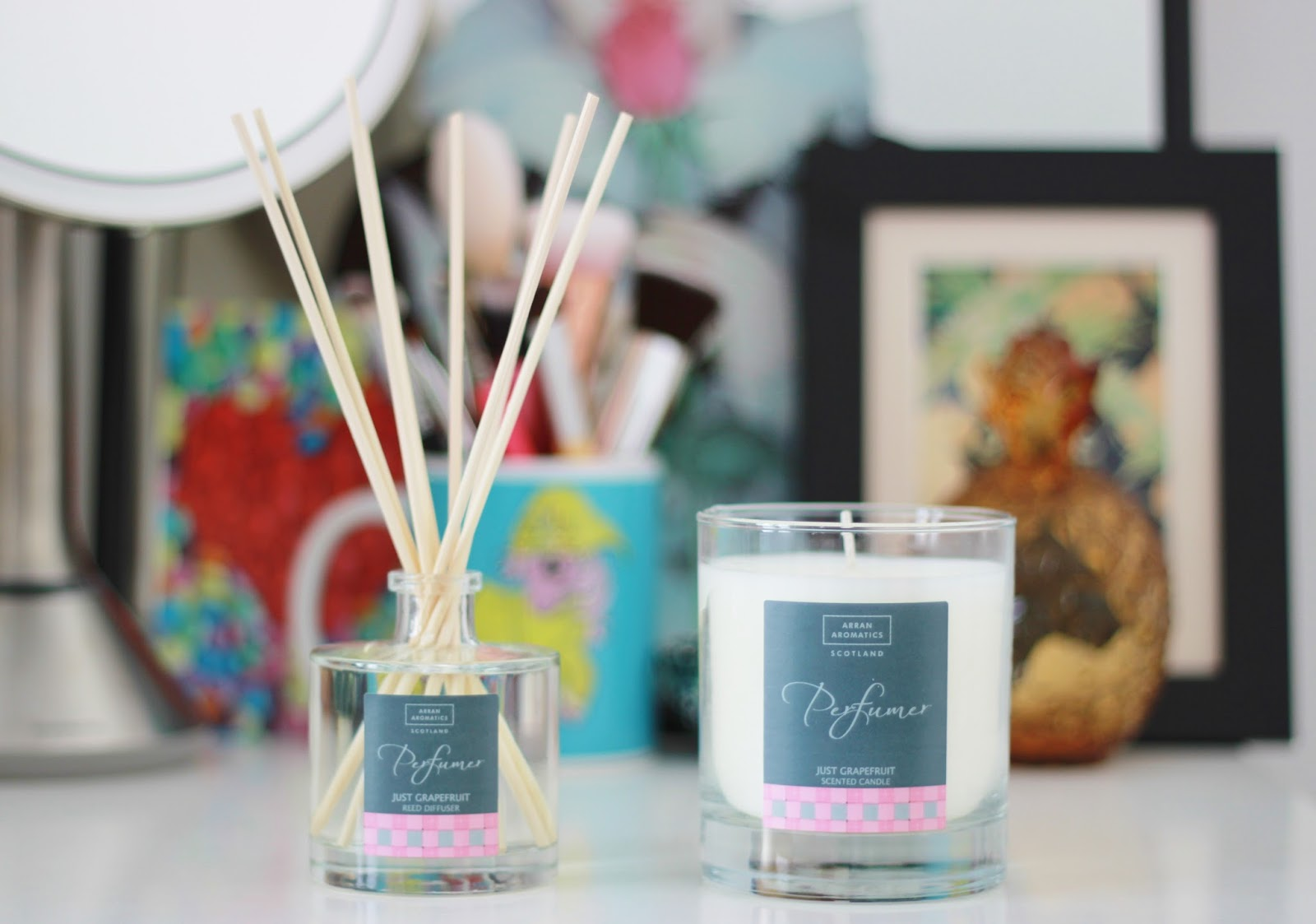 Arran Aromatics Just Grapefruit scented candle and reed diffuser