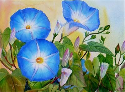 Morning Glories original floral watercolor painting