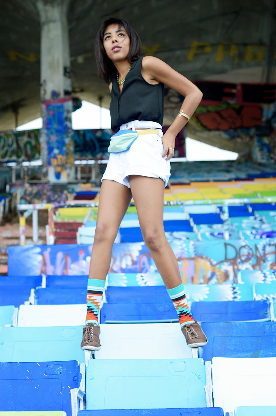 Indie Fashion Blogger Anais Alexandre of Down to Stars in Stance socks at the abandoned miami marine stadium