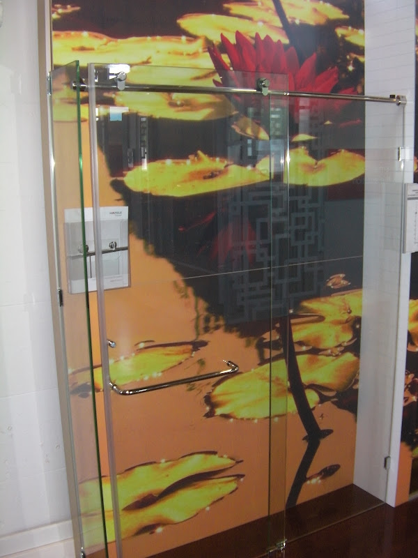 love this top track sliding shower glass door. It will easily become  title=