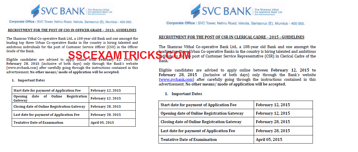SVC BANK VACANCIES