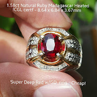 1,58ct Pigeoon Blood Ruby GD